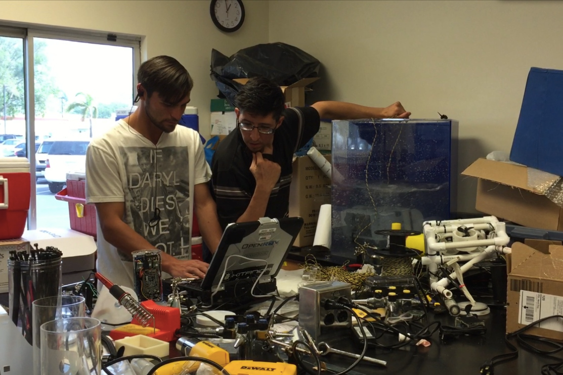 Chris and Paul prepping a newly built ROV.  This is one of three they have been working on since the beginning of February.