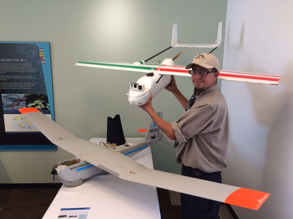 Team leader Paul Spaur had the opportunity to compare his home built mapping fixed wing, the Snowy Plover, to the commercial platform produced by AeroVironment.