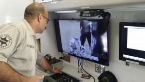 Inside the Sheriff's command vehicle