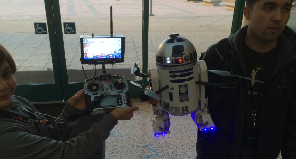 R2D2 Drone built around a DJI platform leaving the Los Angeles Convention Center after IDE 2015.