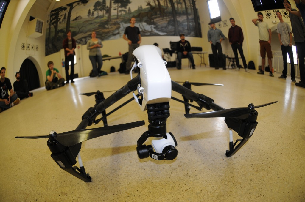 Class Indoor flight training with a DJI Inspire (model 1), Spring 2015.